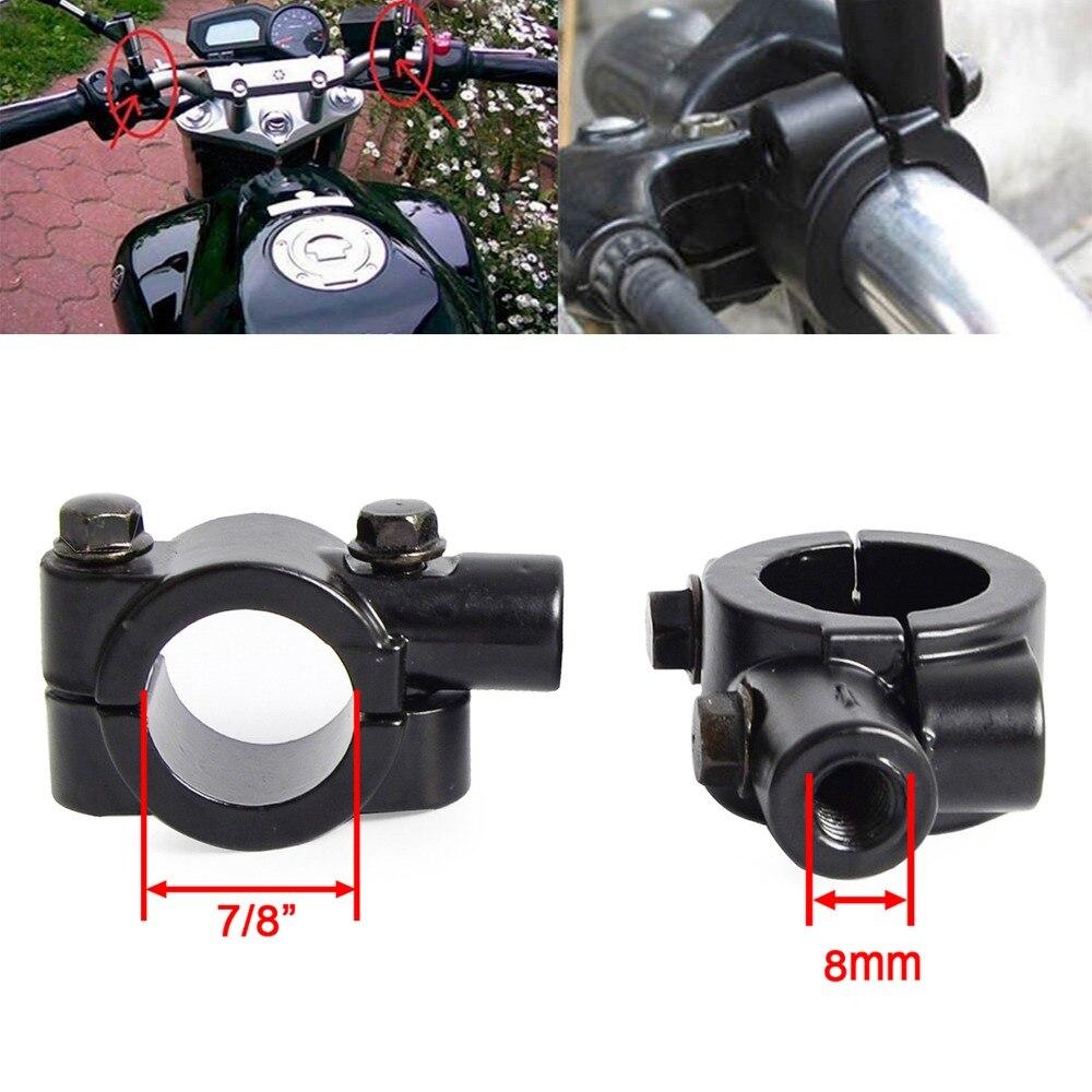 7//8/'/' Dirt Bike UTV GO CART Handlebar Mirror Clamp Mounting Bracket Black 8MM