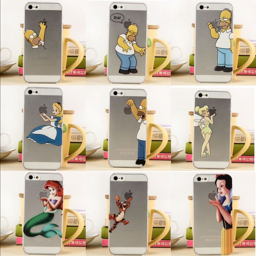Cartoon characters Transparent Painting Phone Covers Shell Snow White-Mermaid-Simpson Cases iphone 5 5s cases - Hot sales Market store