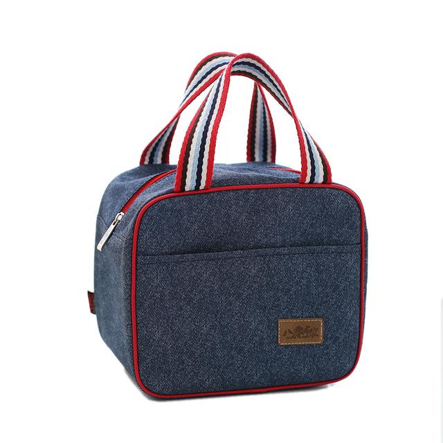 Denim lunchtas lunchtasche tas voor kinderen almoço pacote de isolamento saco de isolamento Térmico portátil mão carry tote sacos de múmia