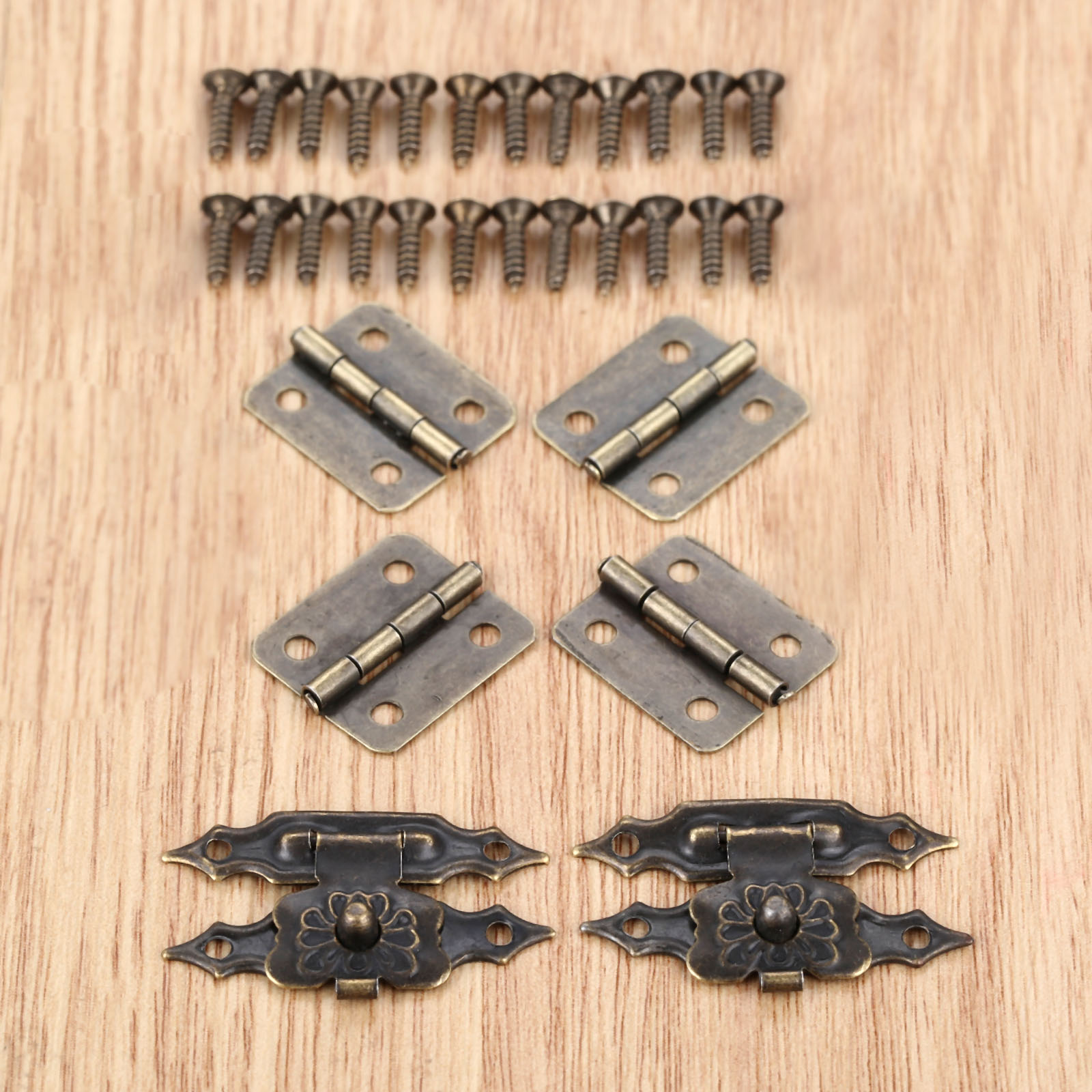 30Pcs Antique Drawer Wood Box Cabinet Door Hasp Lock Hook Latch Butterfly Hinges For Jewellery Fittings Furniture Decorative