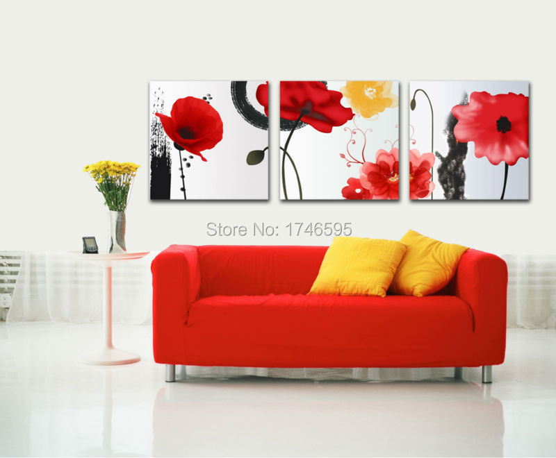 Big Size 3pcs Abstract Wall Art Picture For Living Room Bedroom Home Decor Print Ink Red Corn Poppy Oil Painting Canvas
