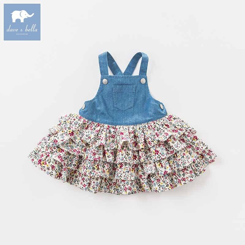 DBA7974 dave bella autumn infant baby girl s strap dress birthday party suspenders dress toddler children