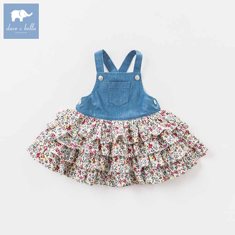 DBA7974 dave bella autumn infant baby girl's strap dress birthday party suspenders dress toddler children clothes-in Dresses from Mother & Kids    1
