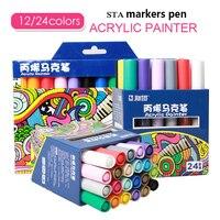 STA 12/24 Colori Acrilici Vernice Marcatore Schizzo Set di Cancelleria Per FAI DA TE Manga Disegno Pennarello Scuola Studente Painter Forniture