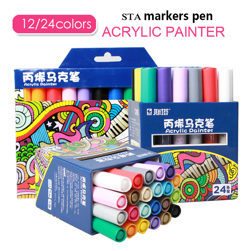 STA 12/24 Colors Acrylic <font><b>Paint</b></font> Marker Sketch Stationery Set For DIY Manga Drawing Marker Pen School Student Painter Supplies