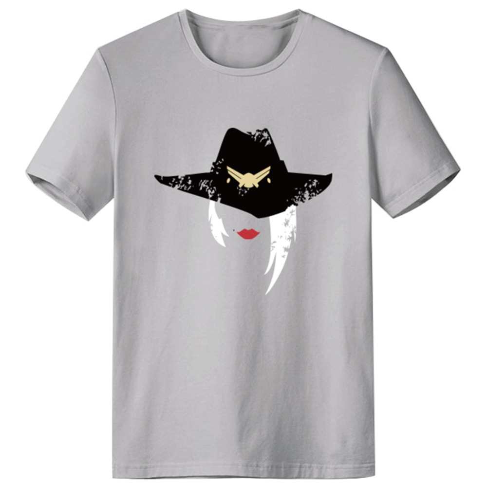 OW Ashe Cosplay T Shirt  Adult Men's Summer O-Neck Cotton Design Shirt Funny Tops Tees
