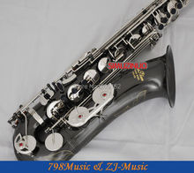 Professional New Black Silver Nickel Tenor Saxophone High F# With Case