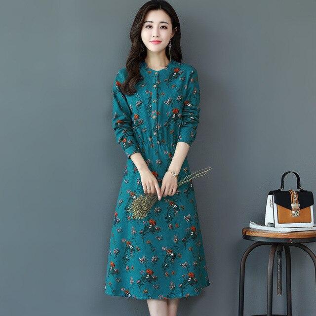 8e285bbaec3b 2017 New Autumn Floral Print Dress Women Bohemian Long Sleeve Buttons Tiny Boho  Maxi Dresses Tunic