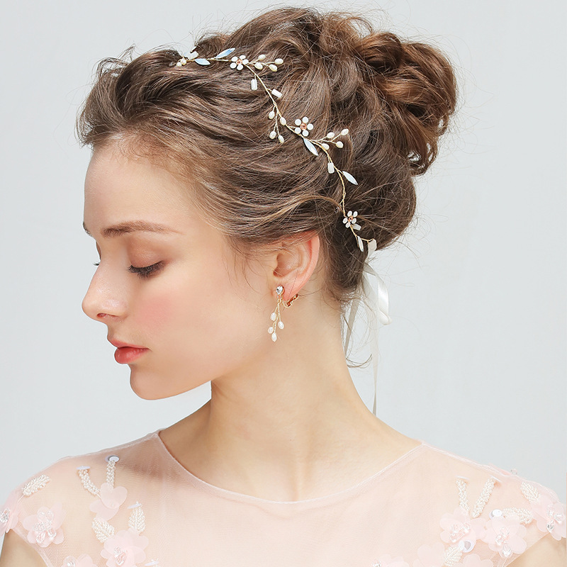 Pure Manual Golden Headband Simulated Pearls Rhinestone Headpiece Hair Accessories for Wedding Bridal with Drop Earring Handmade