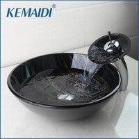 KEMAIDI комбинированный счетчик топ смеситель круглый краны кран для раковины стока судна Ванная Комната Раковиной Водопад Носик Chrome Набор дл