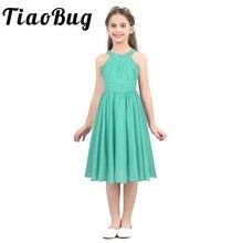 Tiaobug קיץ ילדים בנות ילדי נסיכת פרח בצורת ריינסטון הלטר צוואר שיפון טול שמלת עבור יום הולדת צד פורמלי