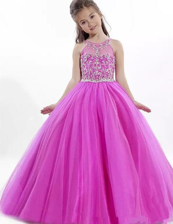 New Fuschia Shiny Crystals Ball Gown Flower Girl Dresses for Wedding Formal Long For Little Girls Dress Girls Pageant Gown lovely purple ball gown long flower girl dresses for wedding custom made girls pageant gown