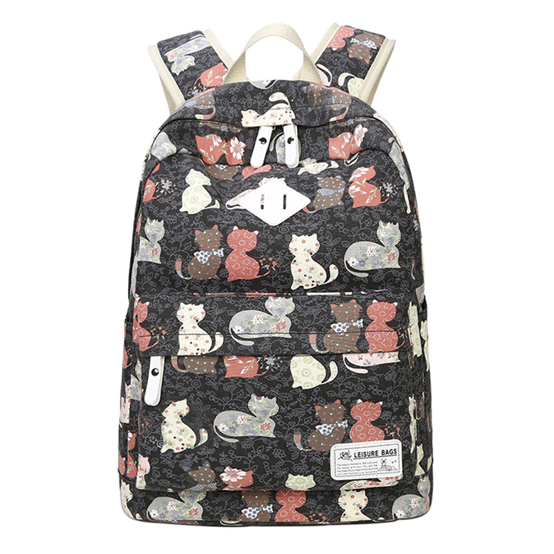 coofit Casual Backapck For Women Lovely Cat Pattern Printing Backpack Large Capacity Canvas School Bookbag For Girls Ladies New