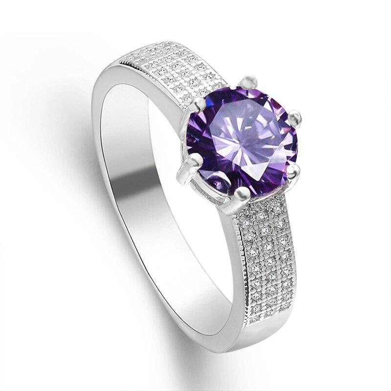 ᐂqcooljly Srebrne Obrączki Taśmowe Pierścieni Dla Kobiet Fioletowy