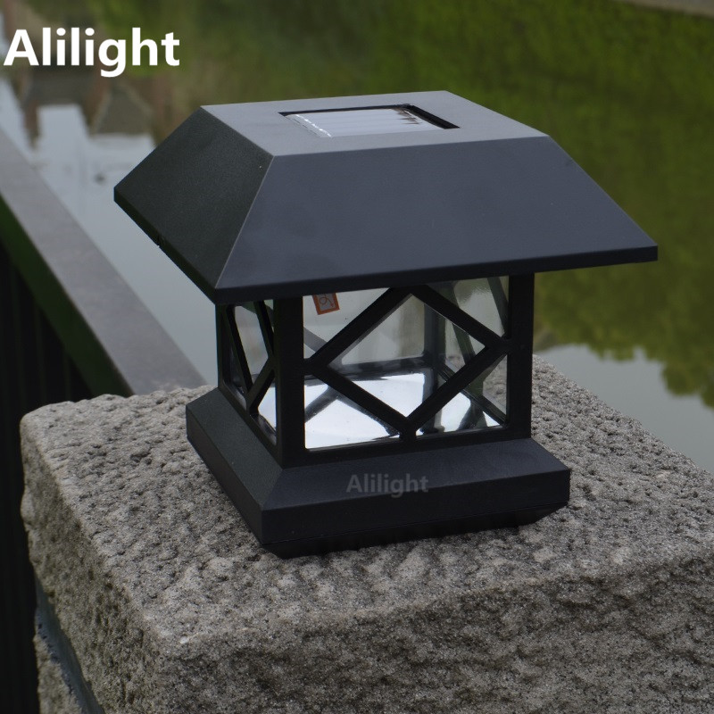 Solar Column Head Light Outdoor Lighting Garden Fence Waterproof Warm White Led Attractive Landscape Home Fixtures In Lamps From Lights