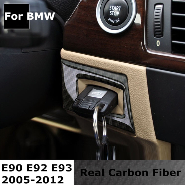 US $14 5  For bmw e90 e92 e93 Carbon Fiber Car Engine Start Stop Ring  Switch Keyhole Trim Circle Ignition Key Ring 3 Series Accessories-in Car