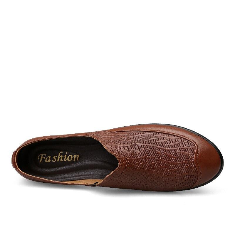 Sapatos Preto Apartamentos Genuíno Couro Casuais Tamanho Handmade Masculinos Dos Da De Grande Mocassins Homens marrom Marca Alta Qualidade Macio Cwwq85T