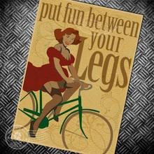 Sexy Lady Put Fun entre sus piernas bicicleta Vintage Poster bicicleta Retro montar pared arte pegatina pintura Bar Pub café imprime imagen