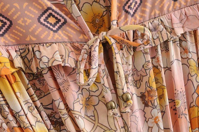V-Neck Sasches Ruffles Floral Print Boho Dress 5