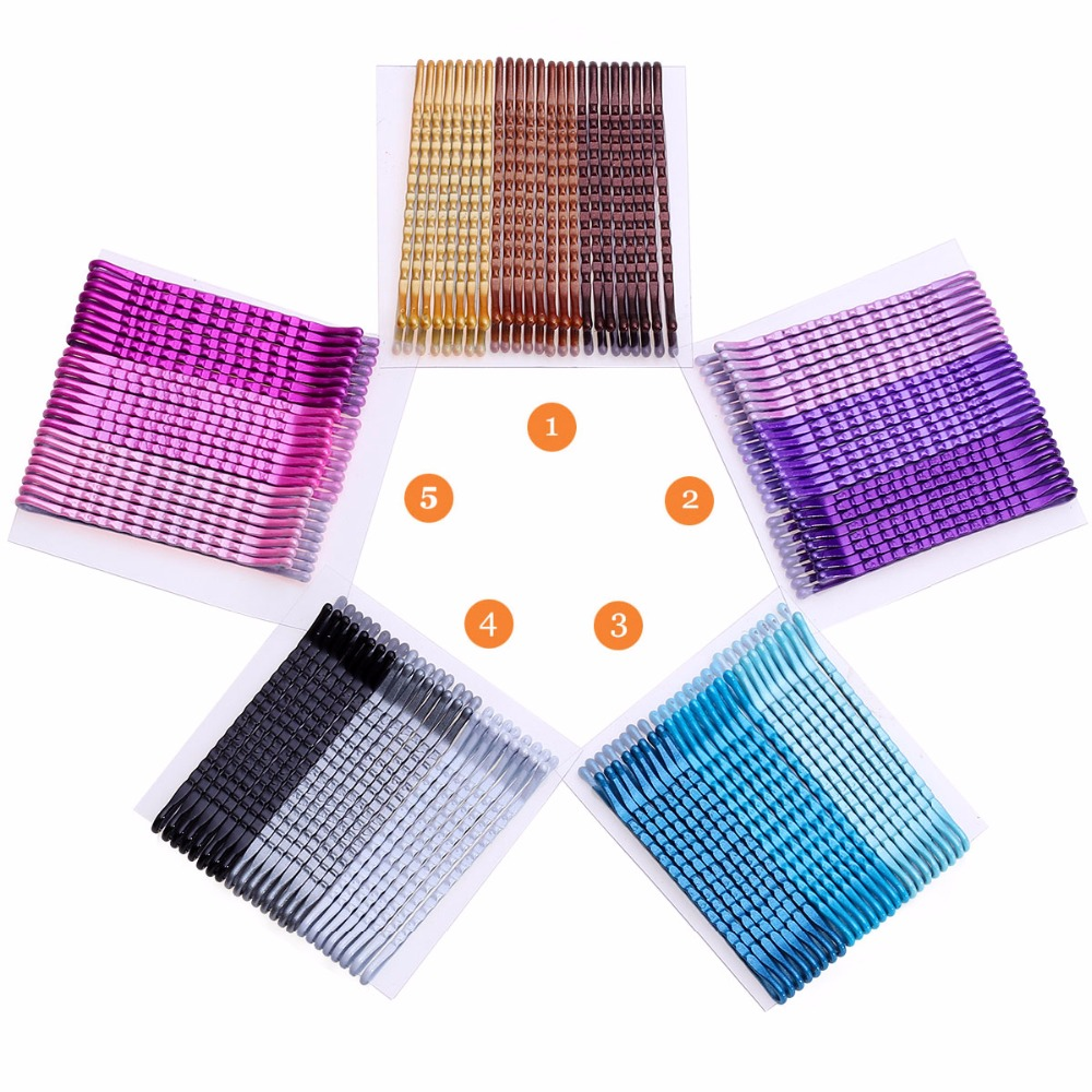 24pcs 5cm Color Hair Clips Bobby Pins For Women Girls Decorative Hair Styling Accessories Wavy Fashion Hairpins Metal Barrettes