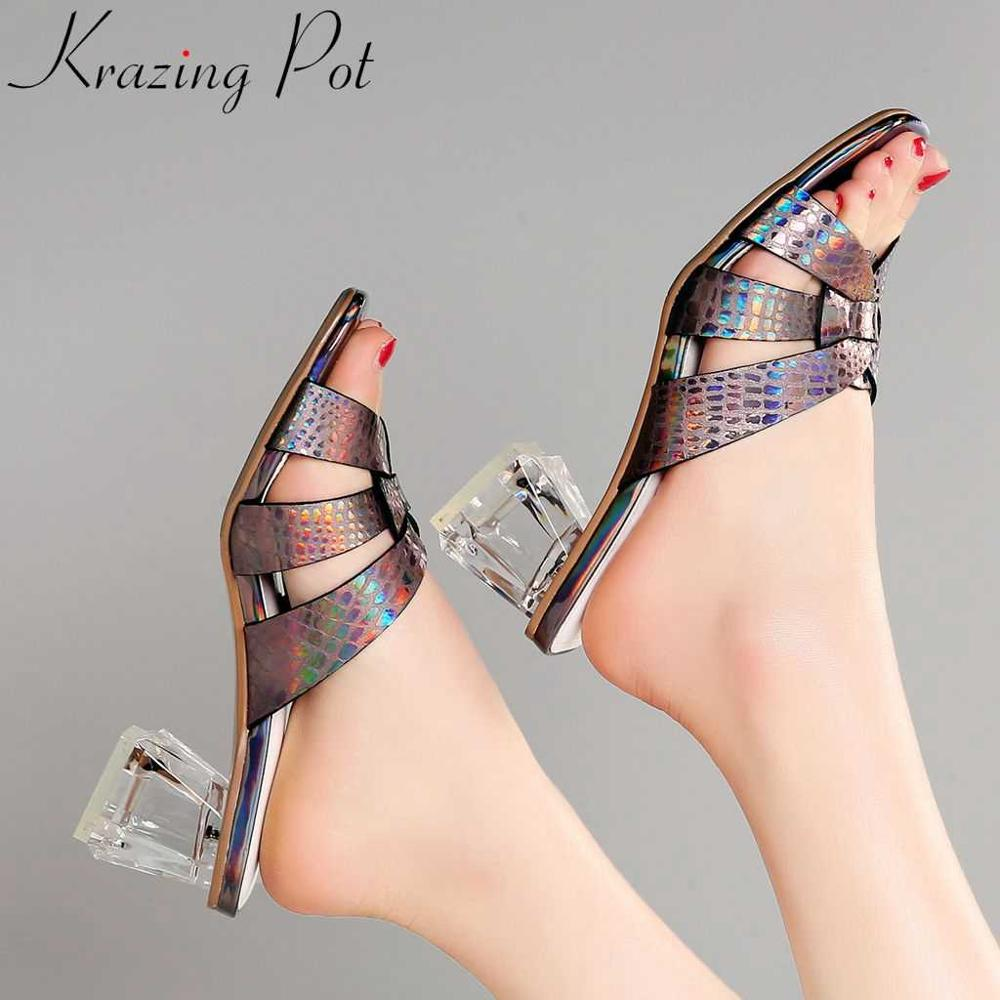 Krazing pot European style colorful special cow leather women sandals chunky med heels peep toe mules oriental design shoes L0f5Krazing pot European style colorful special cow leather women sandals chunky med heels peep toe mules oriental design shoes L0f5