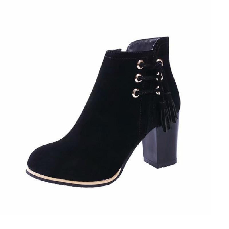 Martin Nueva Gruesa Estilo Ljj Con Británico Zapatos Botas Otoño Negro 0216 Mujer De 2018 xwv0aqC