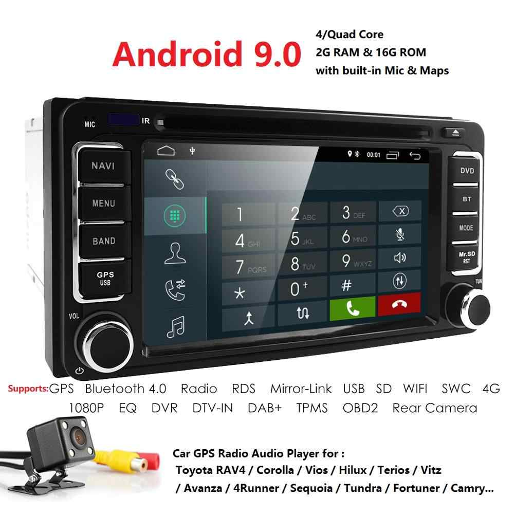 2GB RAM 16GB ROM Android 9.0 IPS DSP 2 DIN Car DVD GPS PlayerFor Toyota auto radio double din with GPS,BT,Steering wheel contro