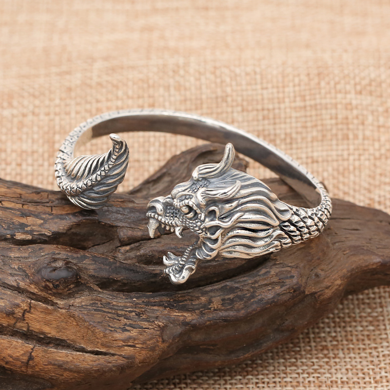 FNJ Dragon Bangle 925 Silver Adjustable Size 58mm Fashion Original S925 Sterling Silver Bangles for Men Women JewelryFNJ Dragon Bangle 925 Silver Adjustable Size 58mm Fashion Original S925 Sterling Silver Bangles for Men Women Jewelry
