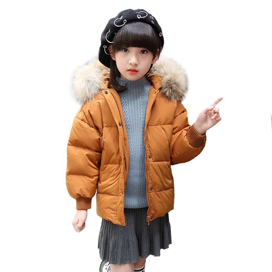 Kids Girls Winter Jackets 2017 Fashion Thickening Hooded Girls Outerwear Children Warm Parkas Girl White Duck Down Jacket DQ590 fashion girl thicken snowsuit winter jackets for girls children down coats outerwear warm hooded clothes big kids clothing gh236