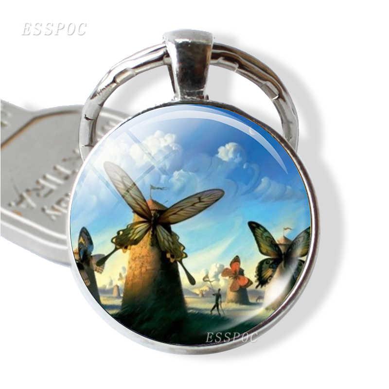 持続性の画像キーホルダーアートジュエリーサルバドール · ダリの絵画時間宝石金属キーリングバレンタインデーのギフト