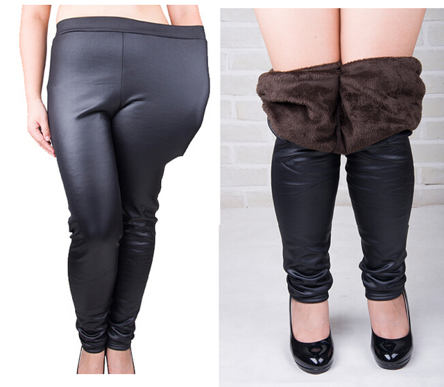 d9bb6db0df99d Velvet faux leather pants fashion warm thicken plus size 5XL women trousers  winter below zero Tall waist elastic PU leggings