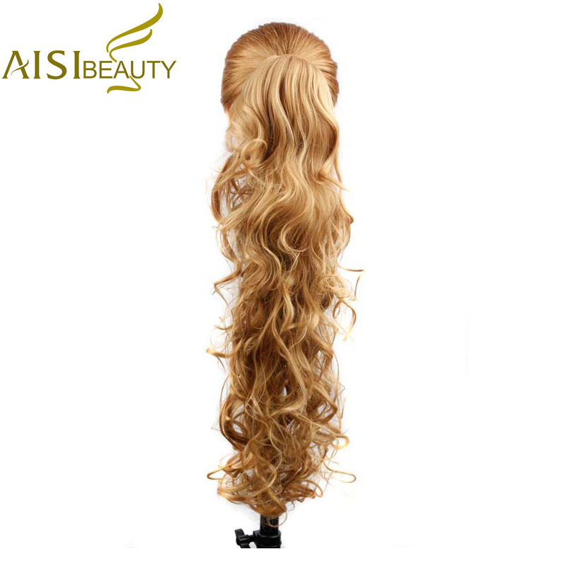 AISI BEAUTY 26 210g High Temperature Fiber Hairpieces Long Wavy Synthetic Claw Clip Ponytail Hair Extensions for Women
