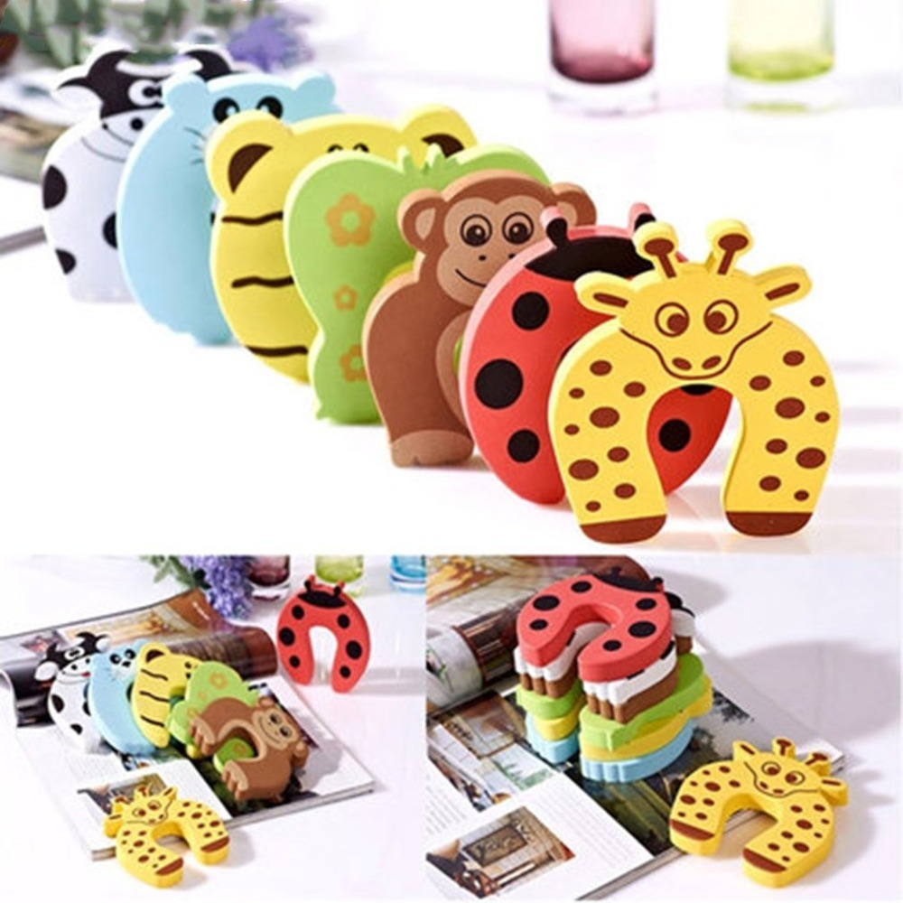 1pc Guard Baby Safety Baby Finger Protector Door Stopper Lock Jammers Pinch Door Handle Knob Crash Wall Protector Anti Collision cute monkey pattern baby safety door stopper finger pinch guard brown