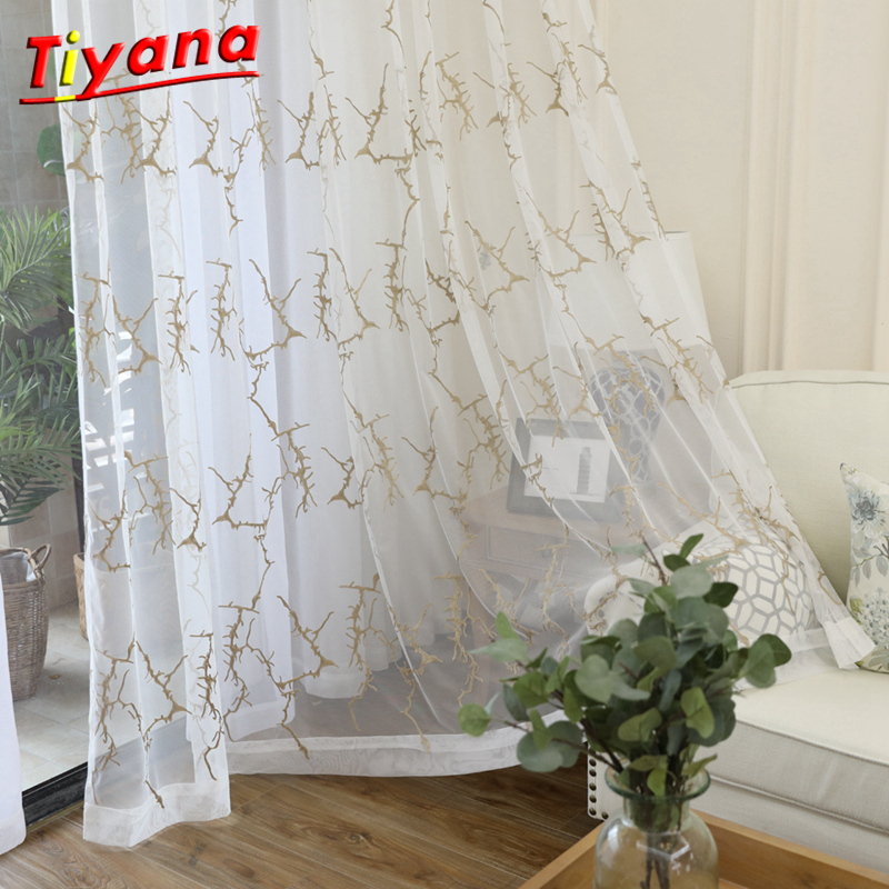 1 Panel Rod Pocket Web Style Embroidered Sheer Curtains Half Shading Decorative Window Treatment Voile Sheer Curtain WP084 *20