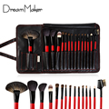 Top Grade Goat Animal Hair 15 pcs Professional Makeup Brushes Set  Eye shadow Brush with PU Leather Case