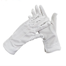 Belt-Buckle Command-Gloves White Cotton Etiquette Polyester Thickening Three-Ribbon 10pair