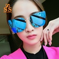 SUNSTONE Upscale Fashion Cat Eyes Mirror Lenses Sunglasses & Case Men Women 2016 Brand Designer Colorful Open-air Shades SA47