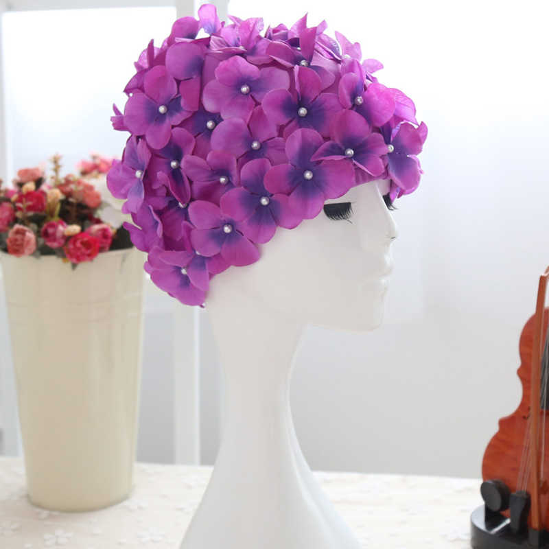Women 3D Petal Swim Hat Bath Cap Ladies Swimming Pool Flower Hats 19ing