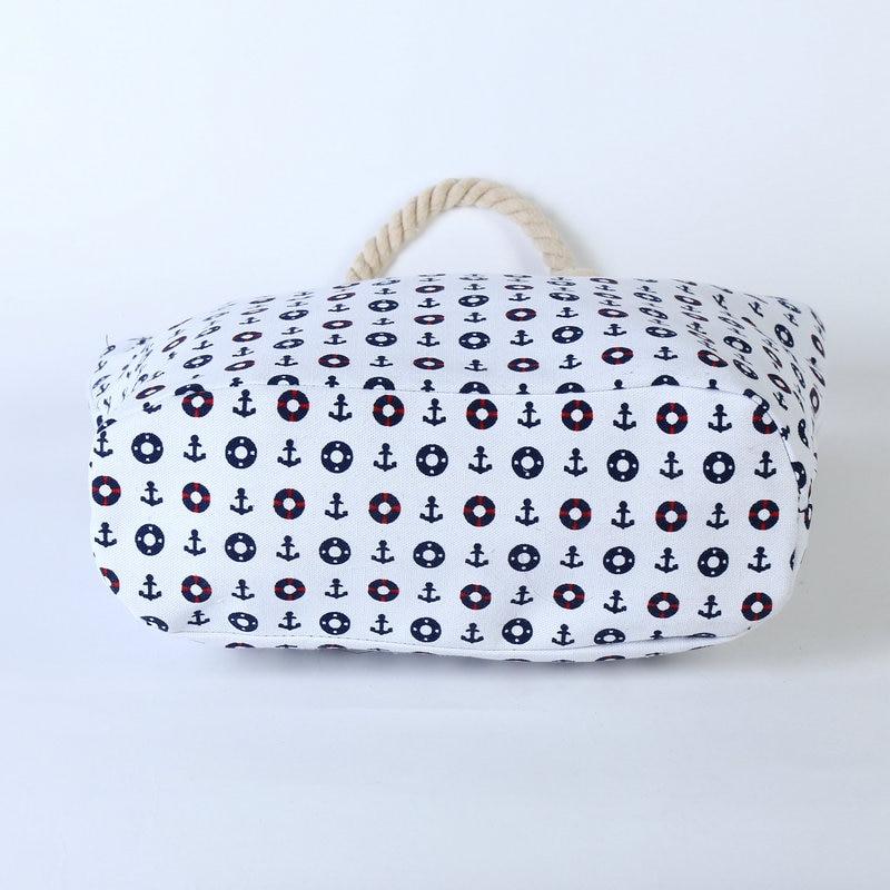Rdywbu 2017 Summer Anchor Printed Canvas Handbag Women's Casual Big Rope Tote Travel Bag Luxury Designers Holiday Beach Bag B133 4