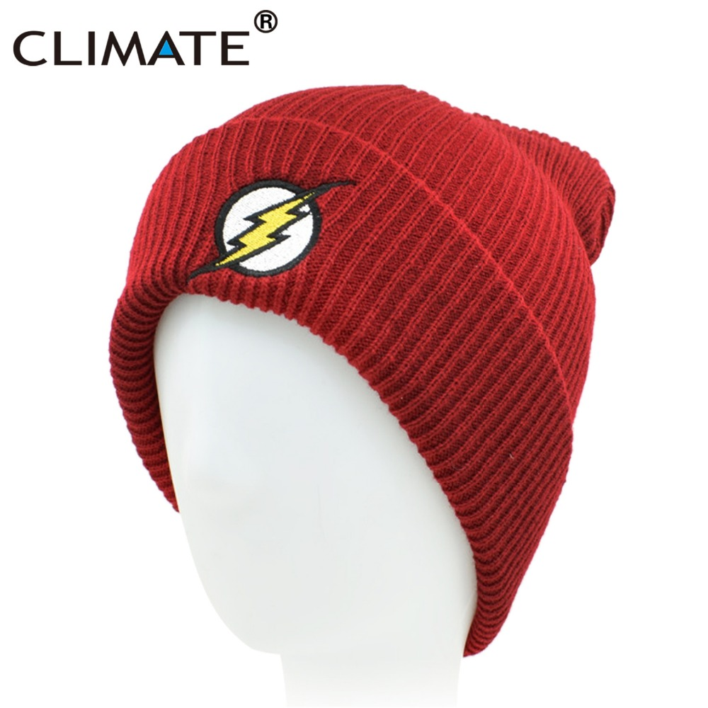 CLIMATE Men Women Winter Warm Beanie Hat 2018 New Flash Hero Soft Red HipHop Warm Knitted Red Caps Hat For Men Women Teenager novelty women men winter warm black full face cover three holes mask beanie hat cap fashion accessory unisex free shipping