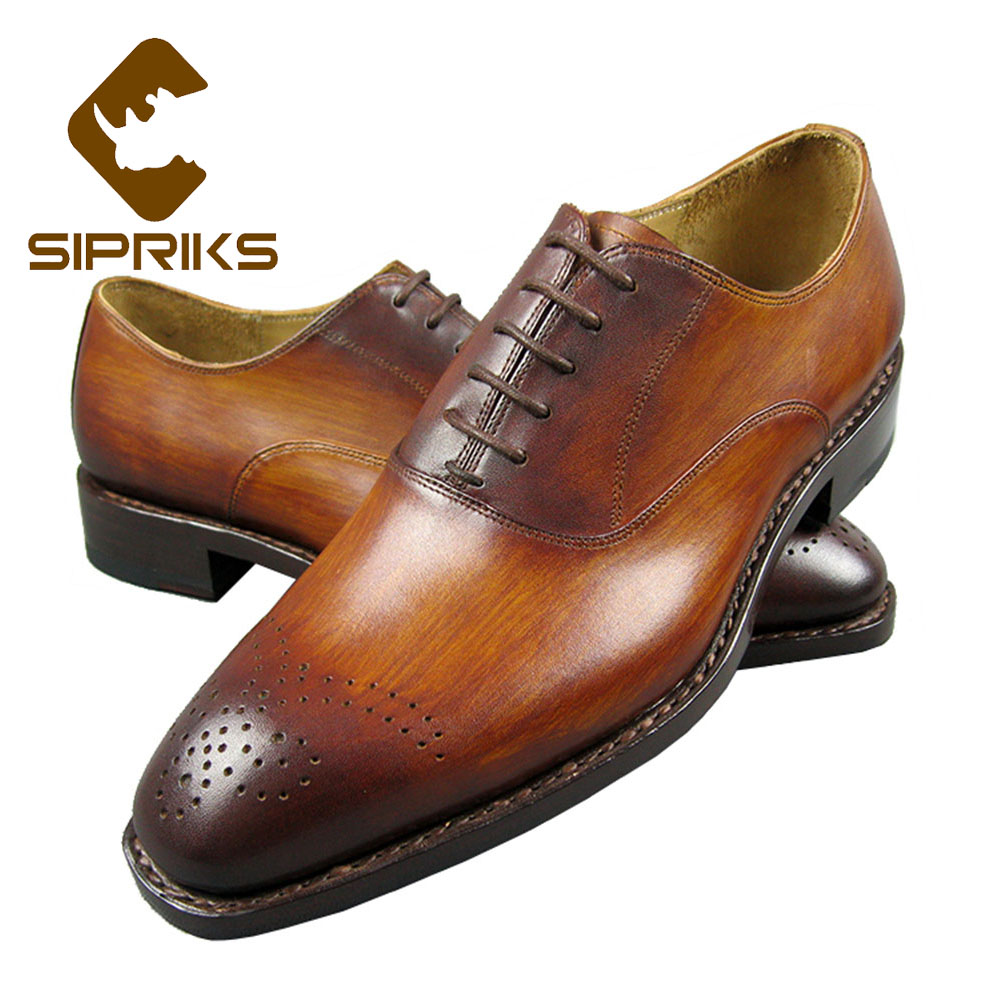 Sipriks Genuine Leather Yellow Brown Oxfords Shoes For Men Luxury Brand Custom Goodyear Welted Shoes Vintage Carved Dress Shoes sipriks genuine leather yellow brown oxfords shoes for men luxury brand custom goodyear welted shoes vintage carved dress shoes