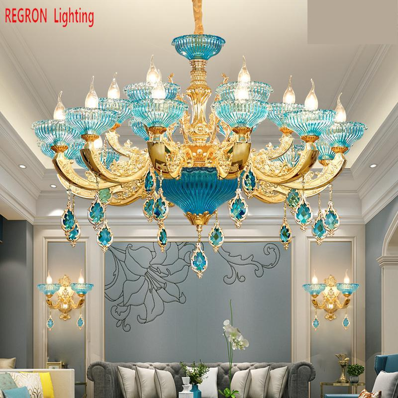 Regron Murano LED Chandeliers Blue K9 Crystal Glass Chandelier Lustres Romantic Hanging Lamps For Bedroom Living Room Lounge turkish mosaic lamps blue crystal glass led lights hand blown murano glass chandelier lighting