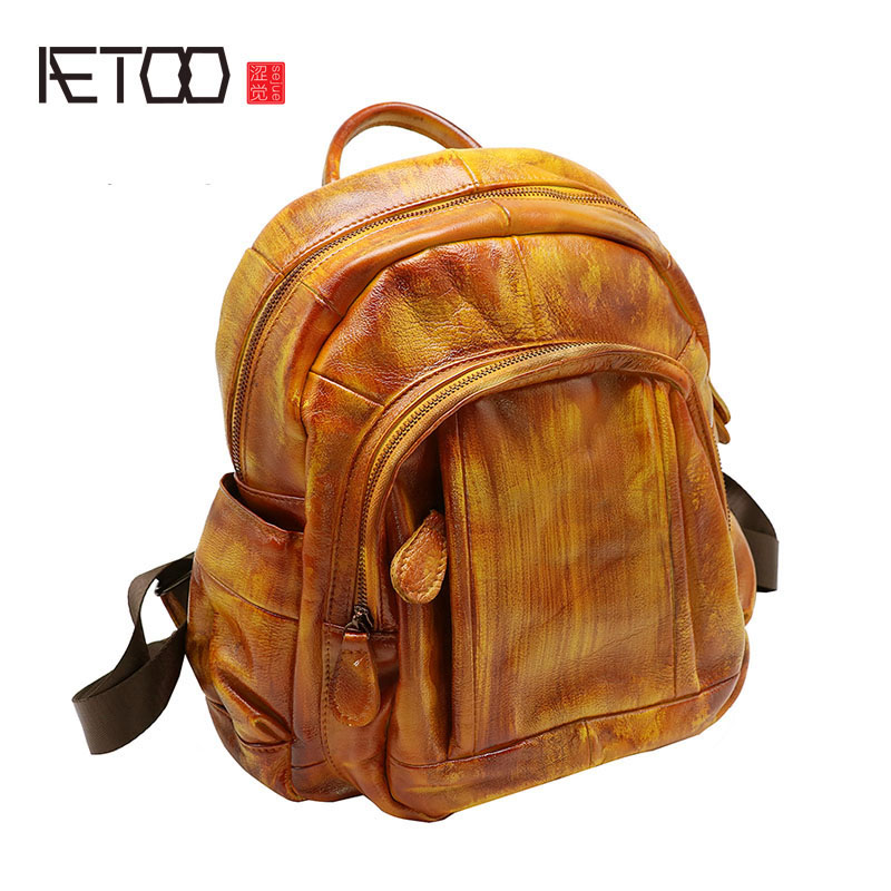 AETOO Leather Europe and the United States the new large capacity ladies shoulder bag retro first layer leather bag handbags bac europe and the united states style first layer of leather lychee handbag fashion retro large capacity solid business travel bus