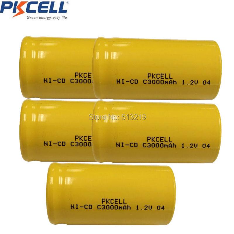 5Pcs 3000mAh C Rechargeable Batteries, power up outdoor solar lights, garden lighting fixtures NICD Battery C Size