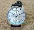 Prateado branco dial 43mm parnis power reserve automatic self-vento relógio dos homens de luxo relógios mecânicos a2