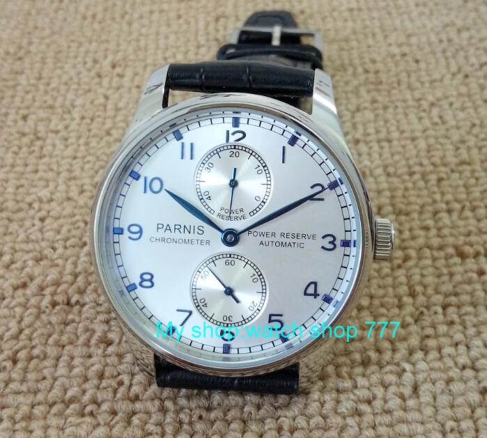 Silvery white dial 43mm PARNIS power reserve  Automatic Self-Wind men's watch Luxury Mechanical watches a2 hot sale 46mm parnis black dial power reserve white marks automatic men wrist watch
