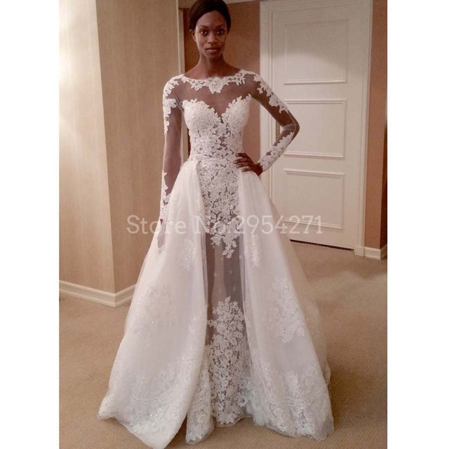 Africa mermaid wedding dresses with detachable skirt long sleeves africa mermaid wedding dresses with detachable skirt long sleeves boat neck lace appliques bridal gowns for junglespirit Choice Image