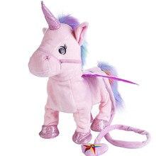 35 см 1 шт электрическая ходячая игрушка единорог плюшевая игрушка чучело игрушка электронная музыка игрушка единорог для детей рождественские подарки