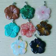 Fashion Mixed  Assorted Carved good quality natural  stone charm flower shape pendants to make jewelry 8pieces free shipping