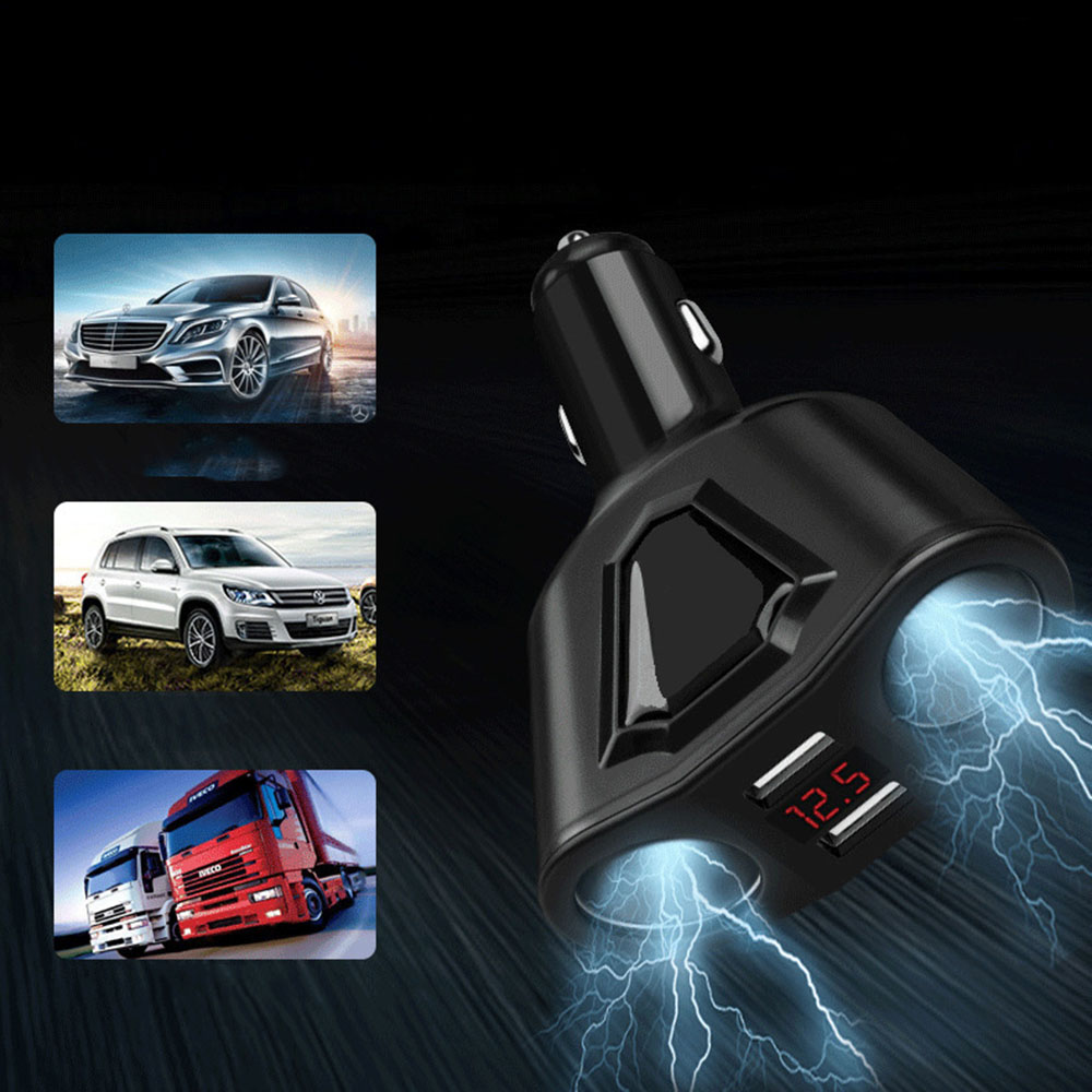 Electronic Cigarette Lighter Socket Splitter 3 1A Dual USB Car Charger for Phone with Current Volmeter for iphone ipad samsung in Cigarette Lighter from Automobiles Motorcycles